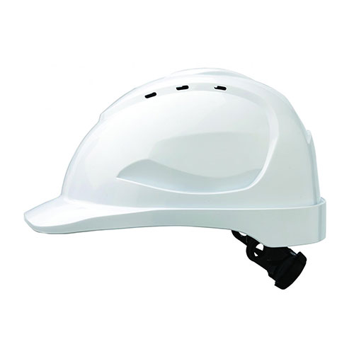 Helmet White Vented with Pin Lock Harness