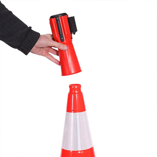 Retractable Traffic Cone with Barrier